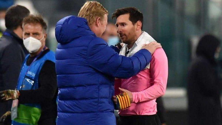 Entrenador del Barcelona junto a Messi tras la victoria en Italia.