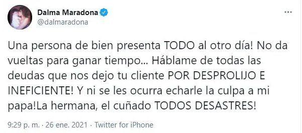 """Dalma Maradona contra Matías Morla: """"Una persona de bien presenta todo"""""""