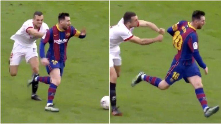 Trató de agarrar a un Messi a toda velocidad, quedó en ridículo y es viral