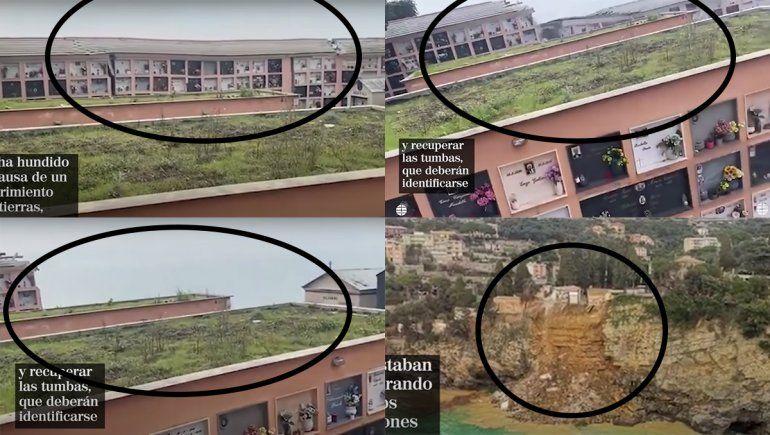 Video: se derrumbó un cementerio y más de 200 ataúdes cayeron al mar