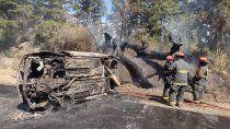 un vuelco en la ruta 40 casi desata un incendio forestal