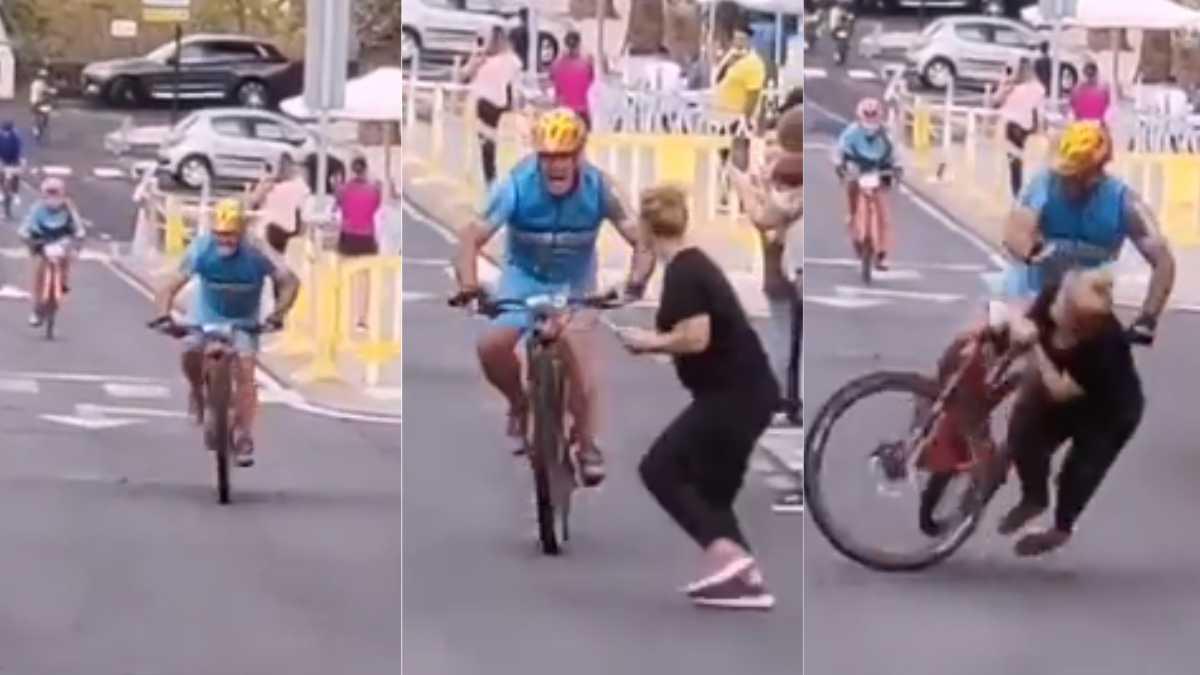 escalofriante video: mujer se le cruzo a un ciclista en el final y agoniza