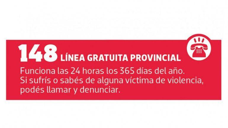 Si sos víctima de violencia de género, llamá a la línea gratuita provincial 148.