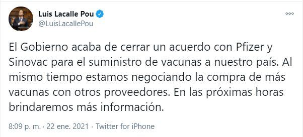 COVID-19: en Uruguay aplicarán las vacunas de Pfizer y Sinovac