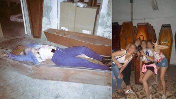 Polémica: hicieron una fiesta clandestina en un depósito de ataúdes