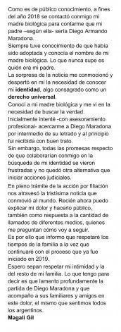 El texto que subió a sus redes la presunta sexta hija de Maradona.
