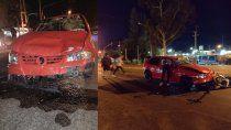 ruta 22: tres heridos tras un fuerte choque entre un auto y una moto