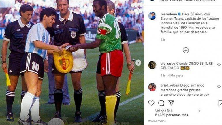 Diego recordó al capitán de Camerún que lo molió a patadas