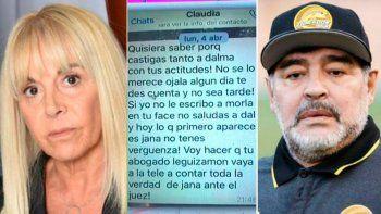 Salió a la luz un viejo mensaje que Claudia le mandó a Maradona y estalló la polémica