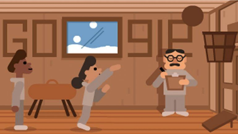 Doodle de Google en honor a James Naismith, tras la invención del baloncesto.
