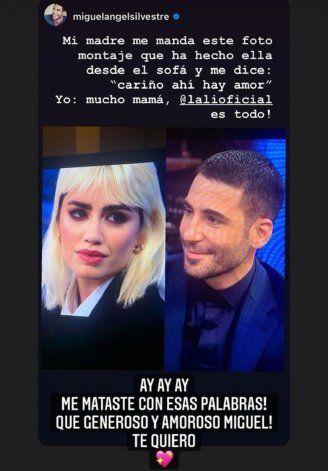 Historia que subió Miguel Ángel Silvestre a Instagram, y Lali Espósito le contestó