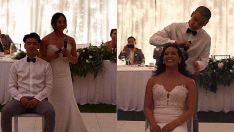 TikTok: se cortaron el cabello en plena boda en apoyo a familiar con cáncer.