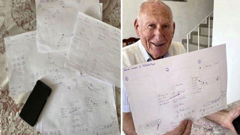 WhatsApp: joven dibujó un manual para que su abuelo aprenda a enviar audios.   Foto: Raphaela Martínez / Facebook