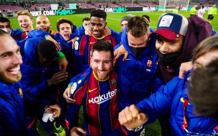 Mirá el festejo con saltitos de Messi en la clasificación agónica del Barcelona