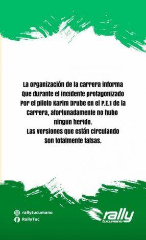 El comunicado que emitió el Rally Tucumano luego del accidente.