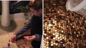 TikTok: una mujer remodeló su baño con cientos de monedas.