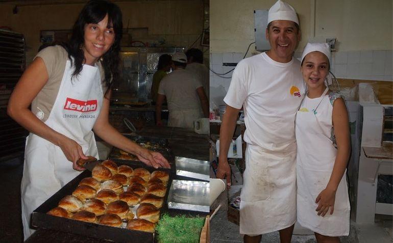 Mariela, Gustavo y su hija panificando en Margus.