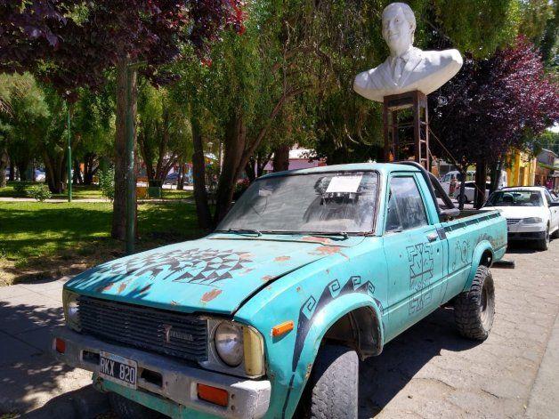 El busto itinerante de Néstor Kirchner en Junín de los Andes.