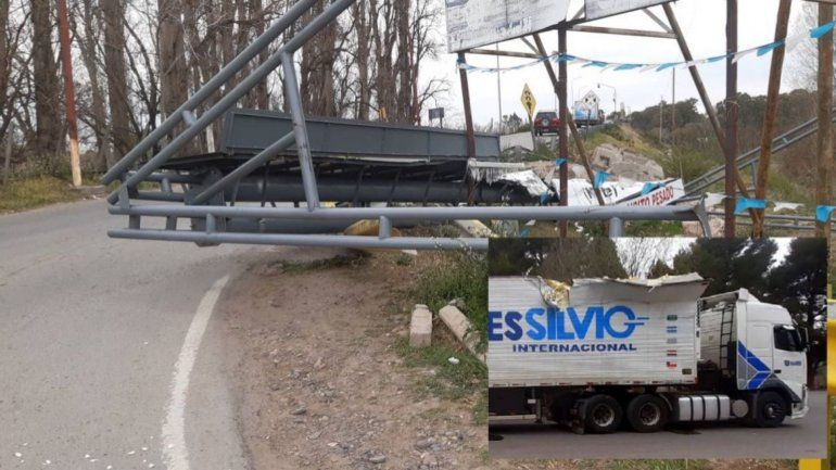 El arco limitador no sirvió y un camión se lo llevó puesto