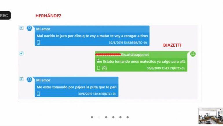 Los degradantes mensajes de texto de la cabo a Biazetti