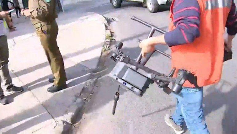 El drone que fue abatido mientras recorría el espacio aéreo del Complejo Deportivo Juan Pinto Durán de la selección chilena