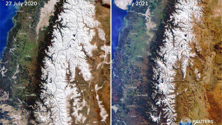La impactante imagen que muestra la Cordillera de los Andes sin nieve