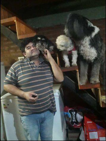 El padre de Sofía junto con sus tres perros.