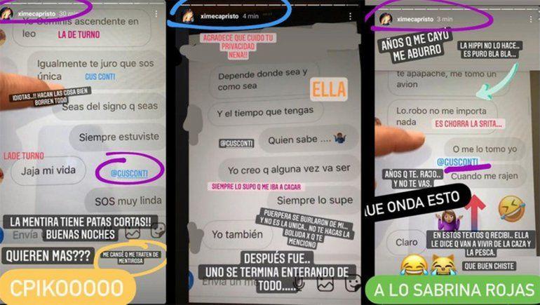Los mensajes que Capristo descubrió y subió a su Instagram.