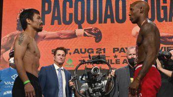 Manny Pacquiao y Yordenis Ugas, se desafían en Las Vegas.