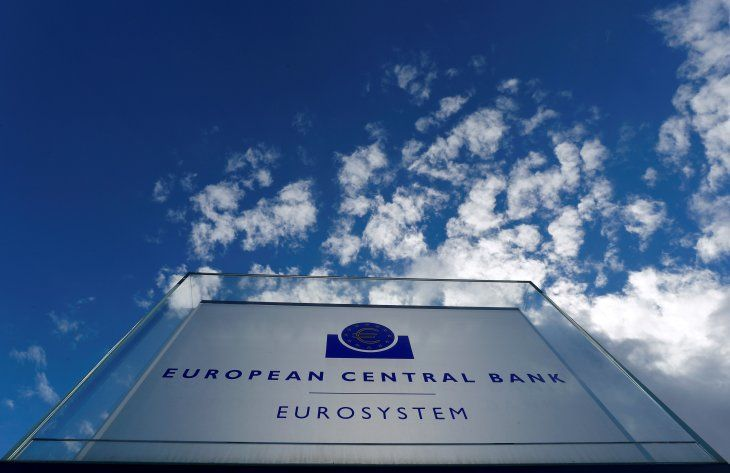 FILE PHOTO: Sign of the European Central Bank (ECB) is seen ahead of a news conference on the outcome of the Governing Council meeting
