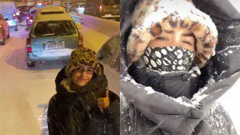lali quedo atrapada en su auto en la tormenta de nieve que sacude a madrid