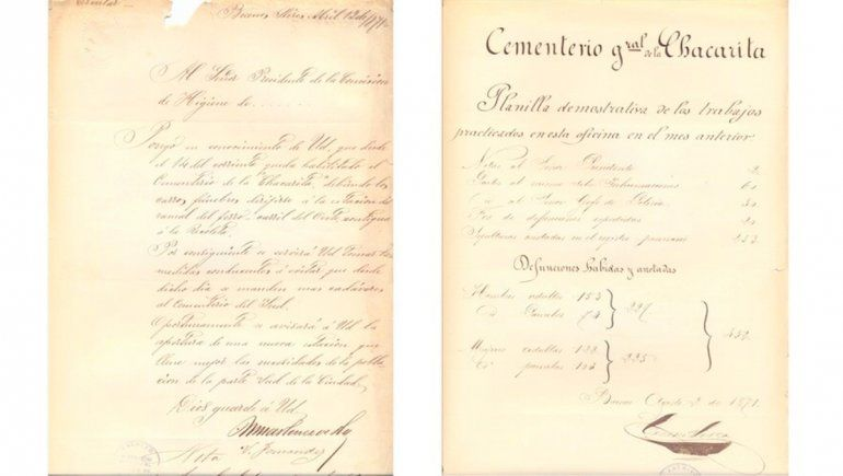 Acta del cementerio de la Chacarita.