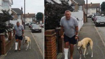 Viral en Facebook: un hombre en muletas descubrió que su perro cojo solo lo imitaba