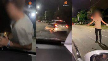 indignante video: llevaban a su amigo en el capo del auto y casi es atropellado