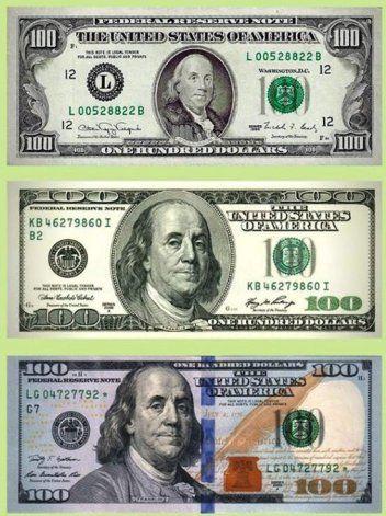 Los diferentes billetes de 100 dólares generan problemas. Pero tienen el mismo valor.