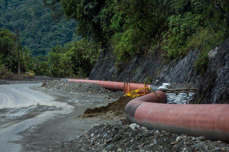 Imagen de oleoductos en El Reventador