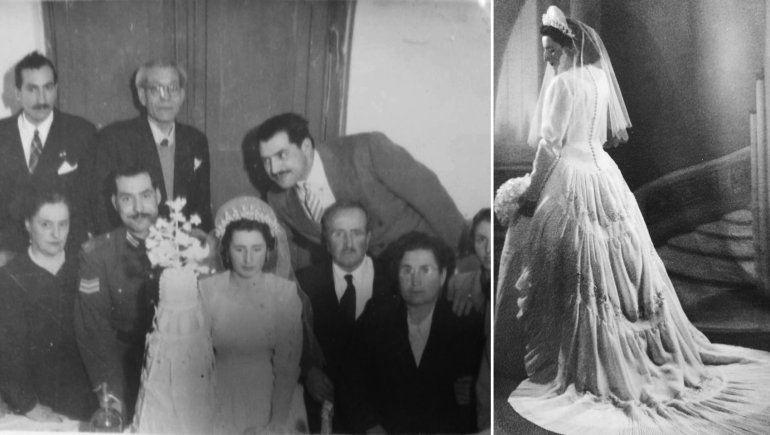 Los novios junto a la torta y María con el vestido que aún conserva.