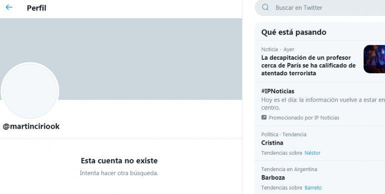 El influencer Martín Cirio decidió, por estas horas y medio de las denuncias y escraches, cerrar su cuenta de Twitter.