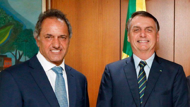 Scioli se reunió con Bolsonaro para tratar el conflicto del trigo