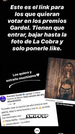 Jimena Barón apareció en Instagram con un pedido especial