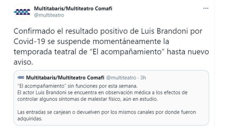 Luis Brandoni internado con COVID-19